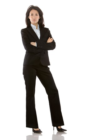 business woman wearing dark suit on white background Stok Fotoğraf