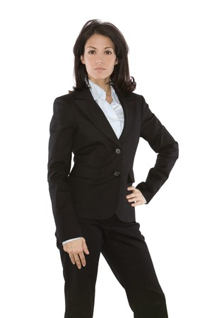 business woman wearing dark suit on white background Stock Photo