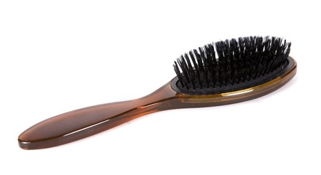 comb hair: object brown natural hair brush on white isolated background Stock Photo