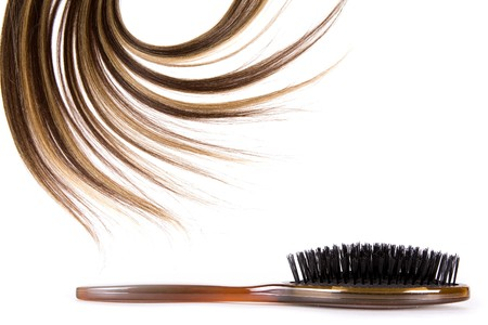 hair highlights: cabello largo marr�n estilo sobre fondo blanco aisladas