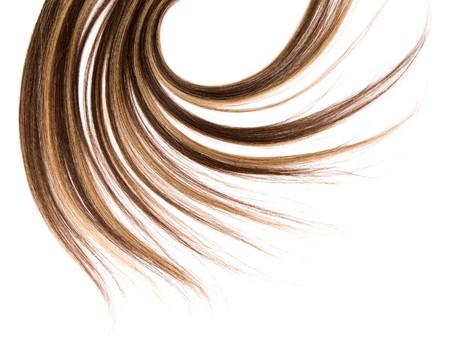 lang bruin haar stijl op een witte achtergrond geïsoleerd Stockfoto