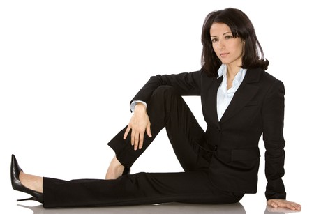 business woman wearing dark suit on white background Stock fotó