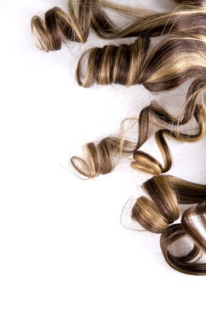 uncombed: long brown hair style on white isolated background