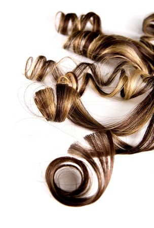 long brown hair style on white isolated background
