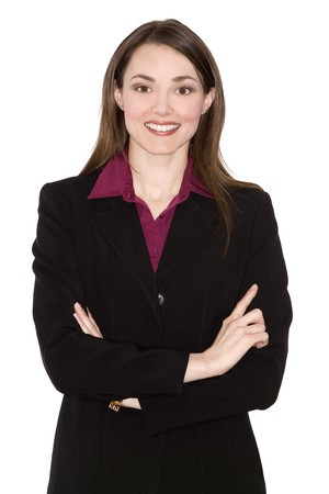 brunette woman wearing business outfit on white background