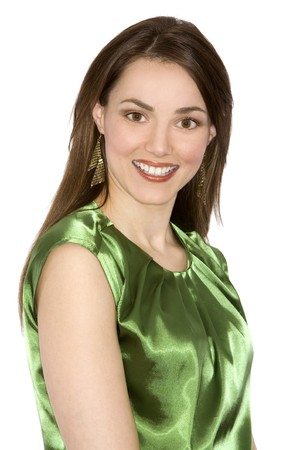 brunette woman wearing upscale outfit on white background
