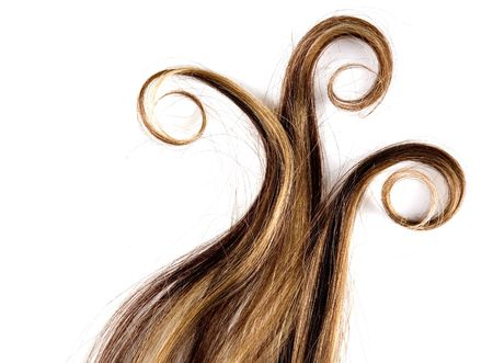 flaxen: long brown hair style on white isolated background