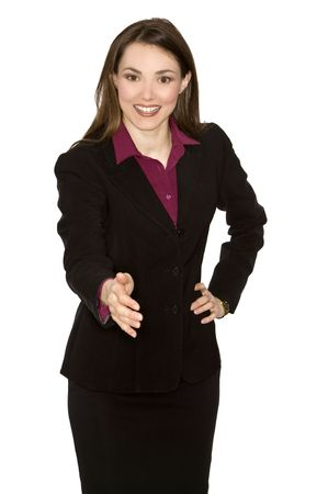 1 person: brunette woman wearing business outfit on white background