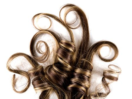 hair curl: long brown hair style on white isolated background