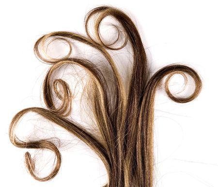 lunghi capelli castani stile isolato su sfondo bianco