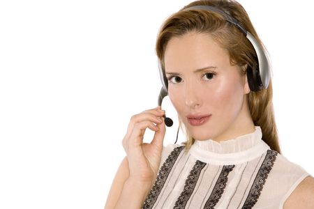 pretty redhead woman wearing headset on white background