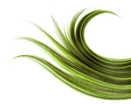 격리 된 배경에 긴 녹색 머리카락 스타일