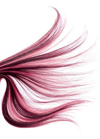 격리 된 흰색 배경에 긴 빨간 머리 스타일