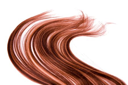 long: long red hair style on white isolated background Stock Photo