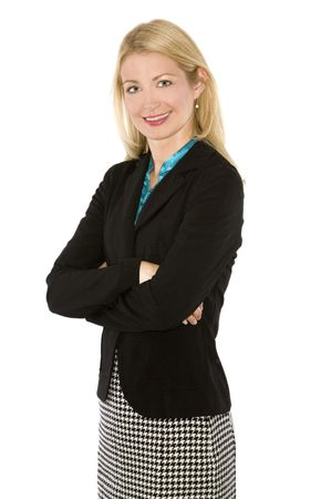 beautiful blond wearing business outfit on white background Stock Photo - 5580566
