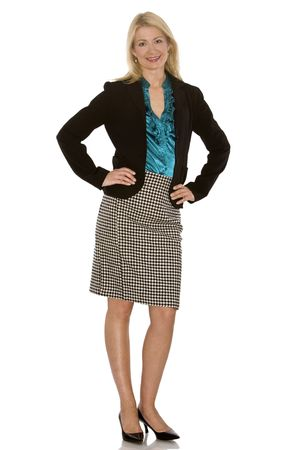 beautiful blond wearing business outfit on white background Stock Photo - 5580580