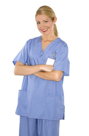 beautiful blond healthcare worker wearing blue uniform scrubs
