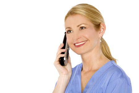 beautiful blond healthcare worker wearing blue uniform scrubs photo