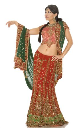 indian bride: beautiful indian woman wearing bridal outfit on white