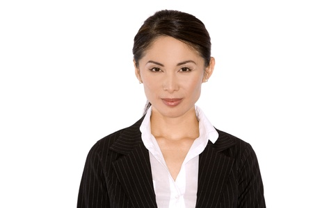 1 person: pretty asian wearing business outfit on white background