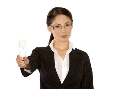 1 person: pretty asian wearing business outfit holding bulb