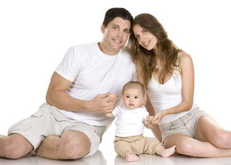mother, father and baby son on white background Stock Photo - 10421905