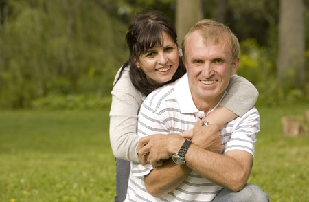 couple having fun together in the park Stock Photo - 10421917