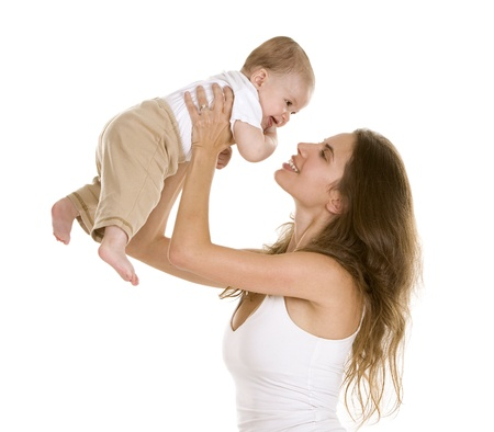 mom and baby: mother with her baby on white isolated background
