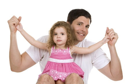 father with his daughter on white background photo