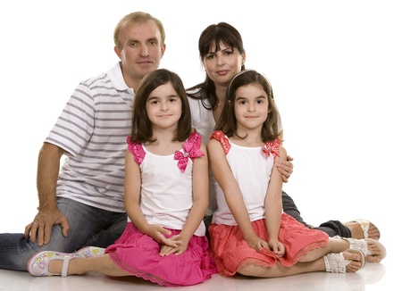 family of four on white isolated background photo