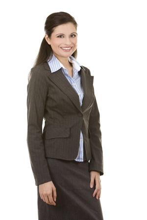 sexy business woman: beautiful brunette wearing business outfit on white background