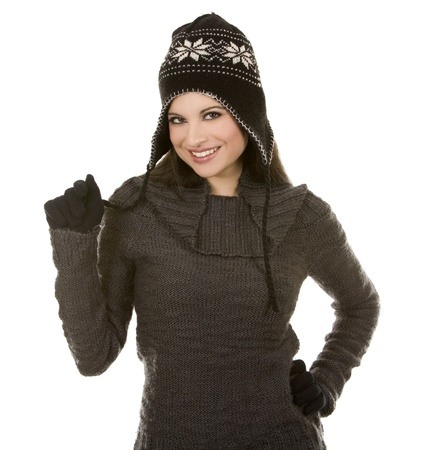 beautiful brunette wearing winter outfit on white background Фото со стока - 10702798