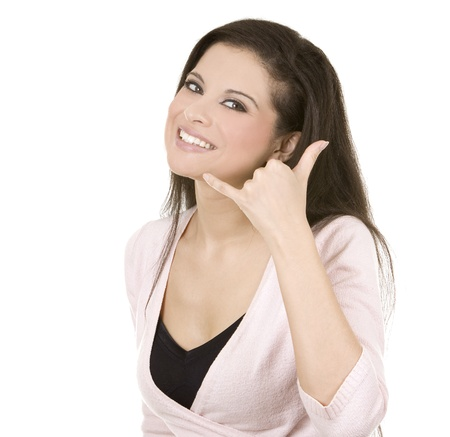 call: beautiful brunette showing call me sign on white background Stock Photo