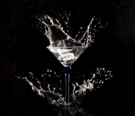 clear water splash on black background Stock Photo
