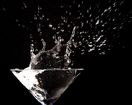 clear water splash on black background Stock Photo