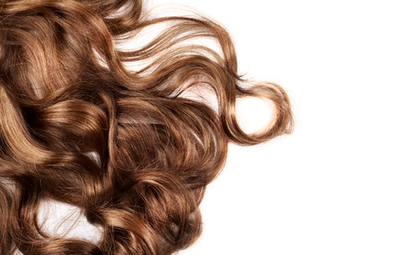 humaine cheveux bruns sur fond blanc isolé Banque d'images