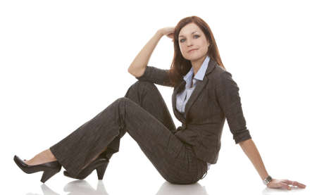 beautiful brunette wearing business outfit on white background Stock Photo - 12649294