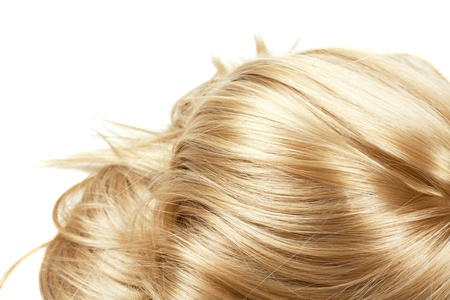 curls: human blonde hair on white isolated background