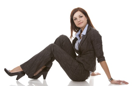 beautiful brunette wearing business outfit on white background Stok Fotoğraf - 13046556