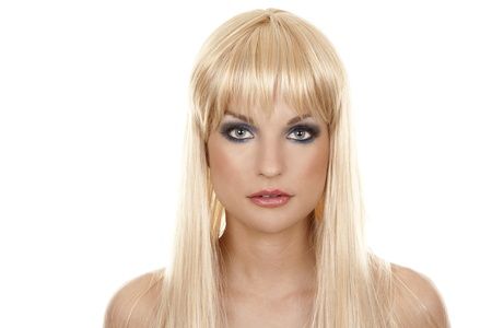 pretty blond woman with colorful makeup on white background