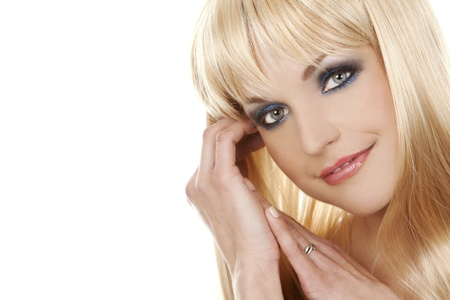 pretty blond woman with colorful makeup on white background Stock Photo - 13308183