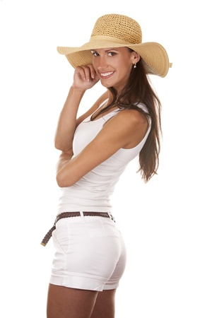 pretty brunette wearing white outfit on white background  photo