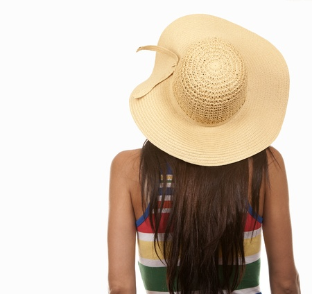 summer wear: pretty brunette wearing summer outfit on white background