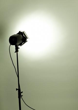 empty studio background and flash light on light green photo