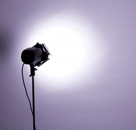barndoor: empty studio background and flash light on light purple Stock Photo