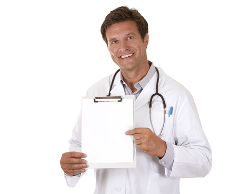 caucasian doctor is holding notes on white isolated background Stock fotó