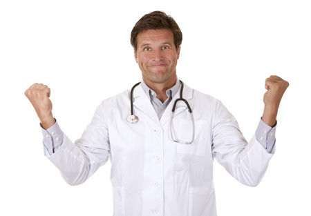 caucasian doctor showing happy gesture on white background photo