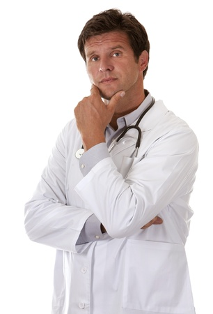 caucasian doctor is thinking on white isolated background Stock Photo