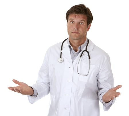 medical physician: caucasian doctor is giving bad news on white background