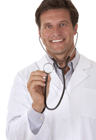 check up: caucasian doctor is listening using stethoscope on white background